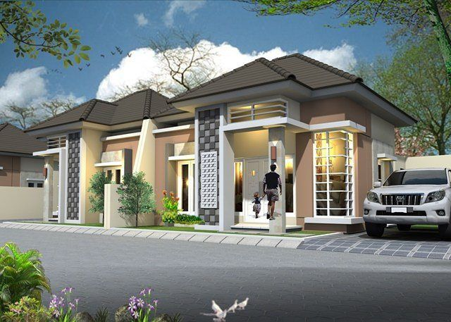 Model Rumah Minimalis Sederhana 1 Lantai Tampak Depan Dengan Desain Teras Batu Alam  Desain