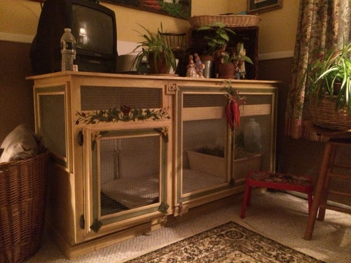 My Homemade Rabbit Cage That I Made From An Old Kitchen Cabinet Someone Threw Away