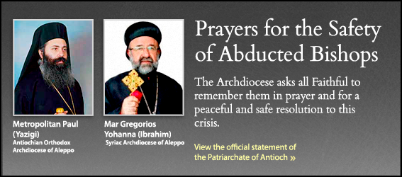 Prayers and An Appeal: God Grant Then Strength and a Safe Return-FieldsofBasil-Official Statement by Patriarchate of Antioch found here:http://www.antiochian.org/joint-communique-abduction-bishop-paul-and-bishop-john   GO-TO-WE-THE PEOPLE TO SIGN THE PETITION! https://petitions.whitehouse.gov/petition/appeal-president-obama-and-his-government-release-two-abducted-orthodox-christian-archbishops-syria/xNskxL1q