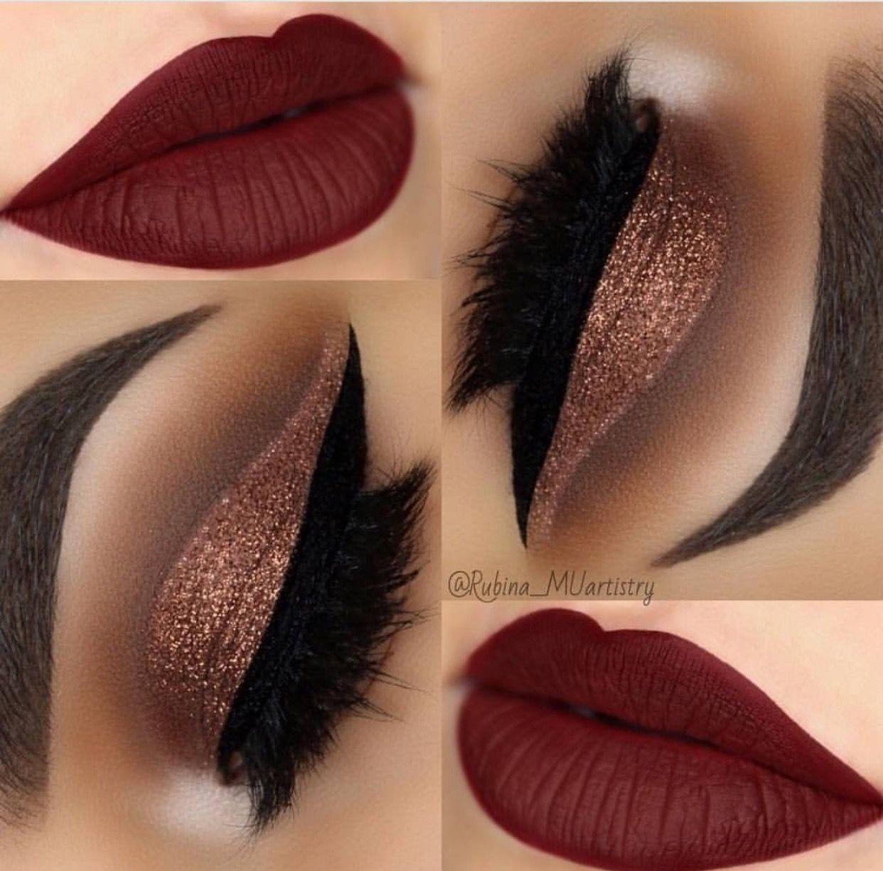 Holiday Makeup Idea Rose Gold Shimmering Eyeshadow Lush Lashes