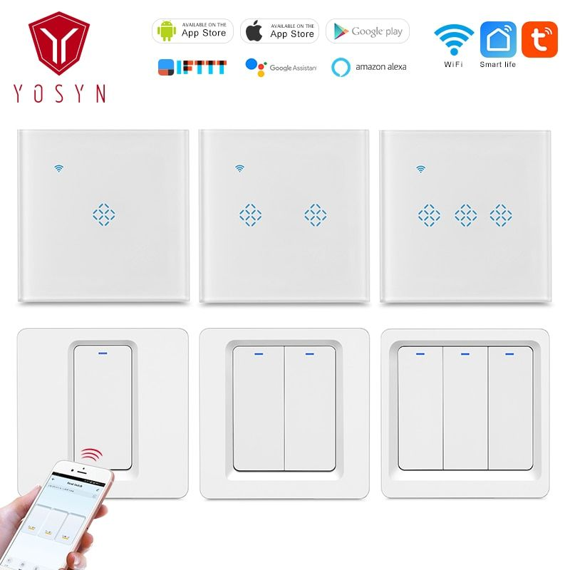 Yosyn Wifi Wireless Smart Touch Switch Remote Led Light Switch 1 2 3 Gang 220v Us Eu Smart Push Button Switch 3 Way Google Wifi App Remote Remote Control Light