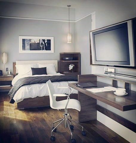 High Quality Bedroom Designs For Men With Office Desk