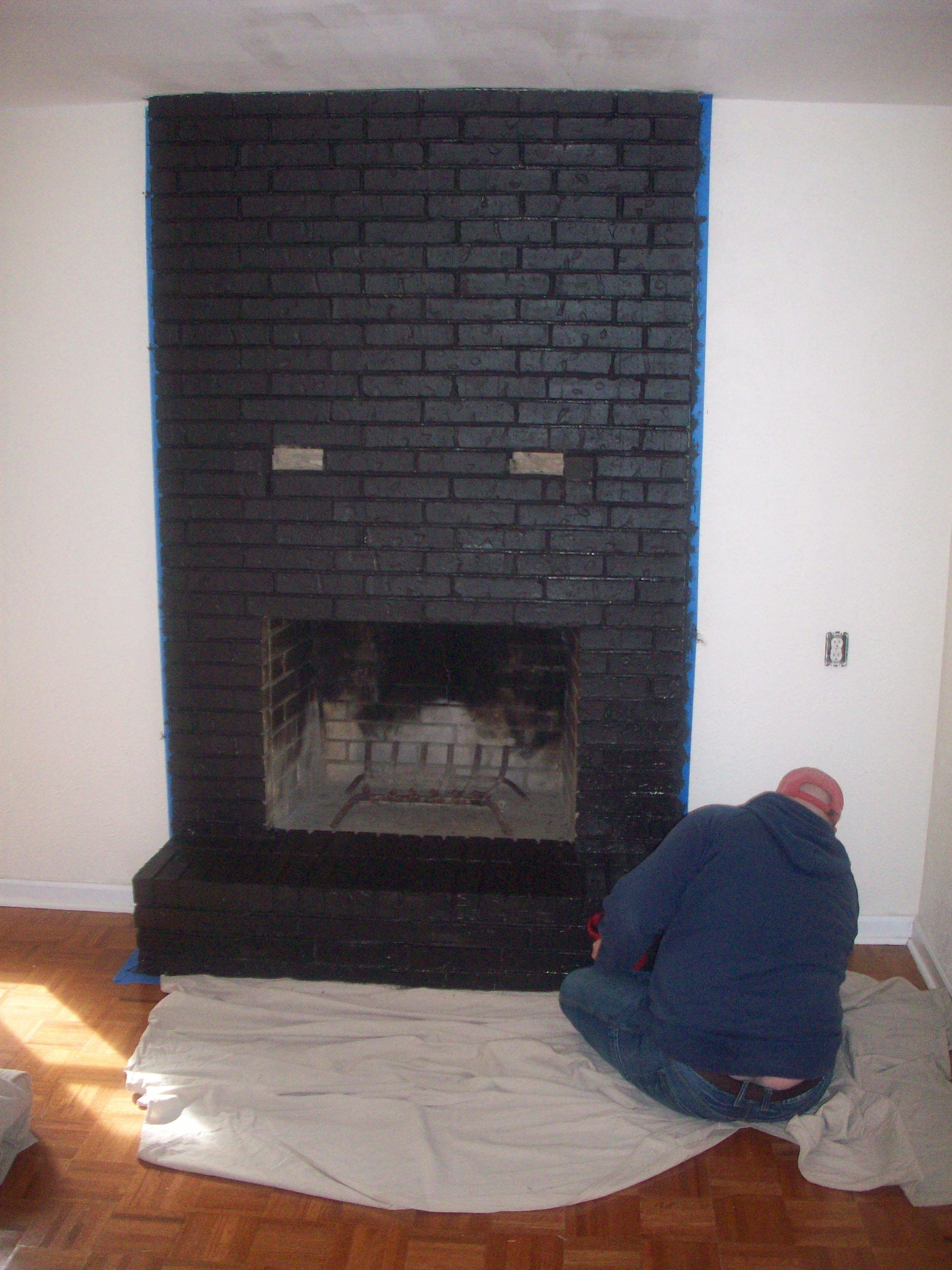 Painting The Brick Black Brick Fireplace Painted Brick Fireplaces Brick Fireplace