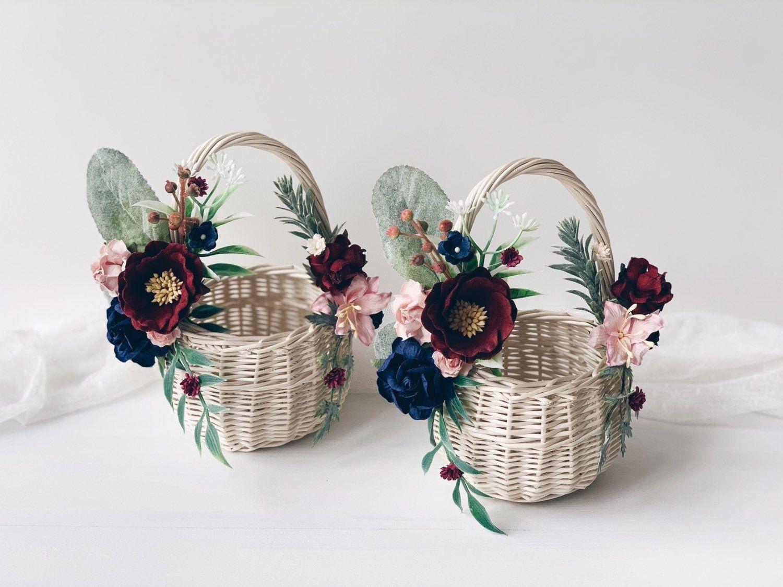 Flower girl basket willow basket flower girl basket with