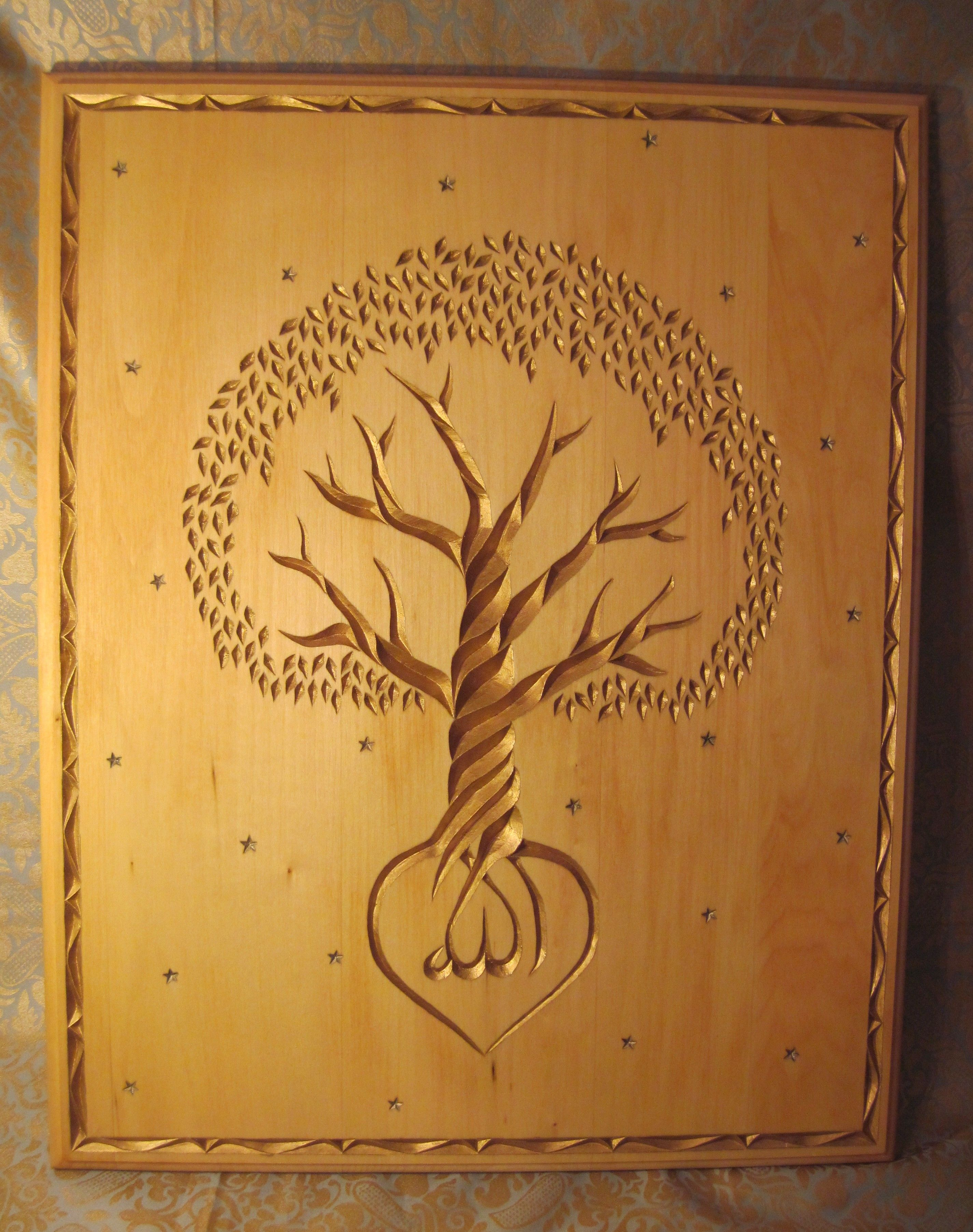 Relief Carved Tree Design