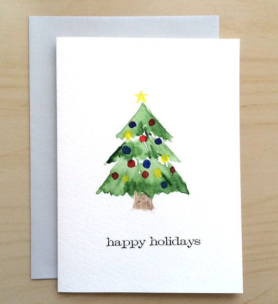 Hand Painted Holiday Card 5x7 Christmas Card By Cardwithheart