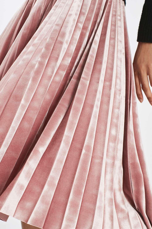 PETITE Velvet Pleat Midi Skirt - Topshop USA