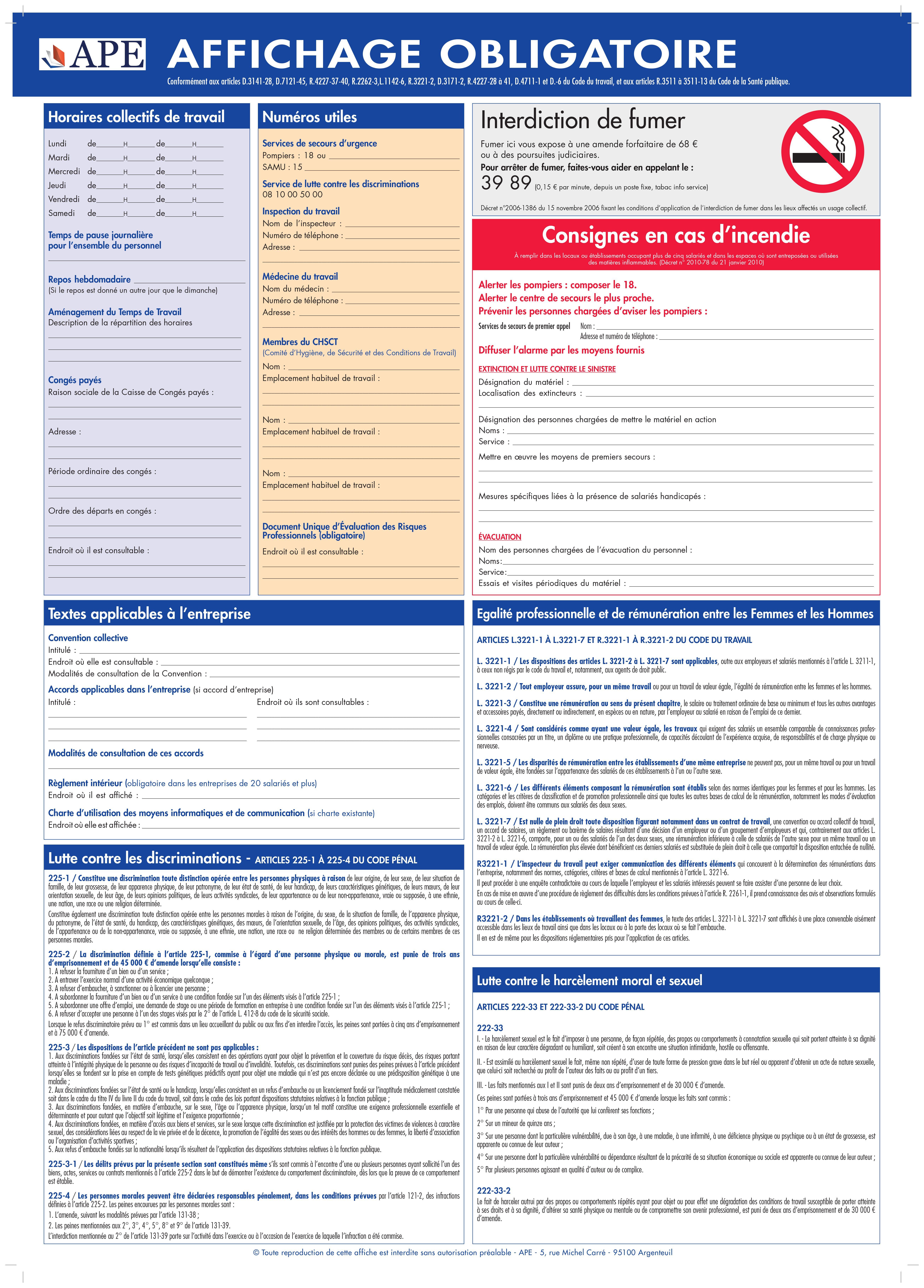 Ape Affichage Obligatoire Infographie Entreprise Lutte Contre Les Discriminations Affichage