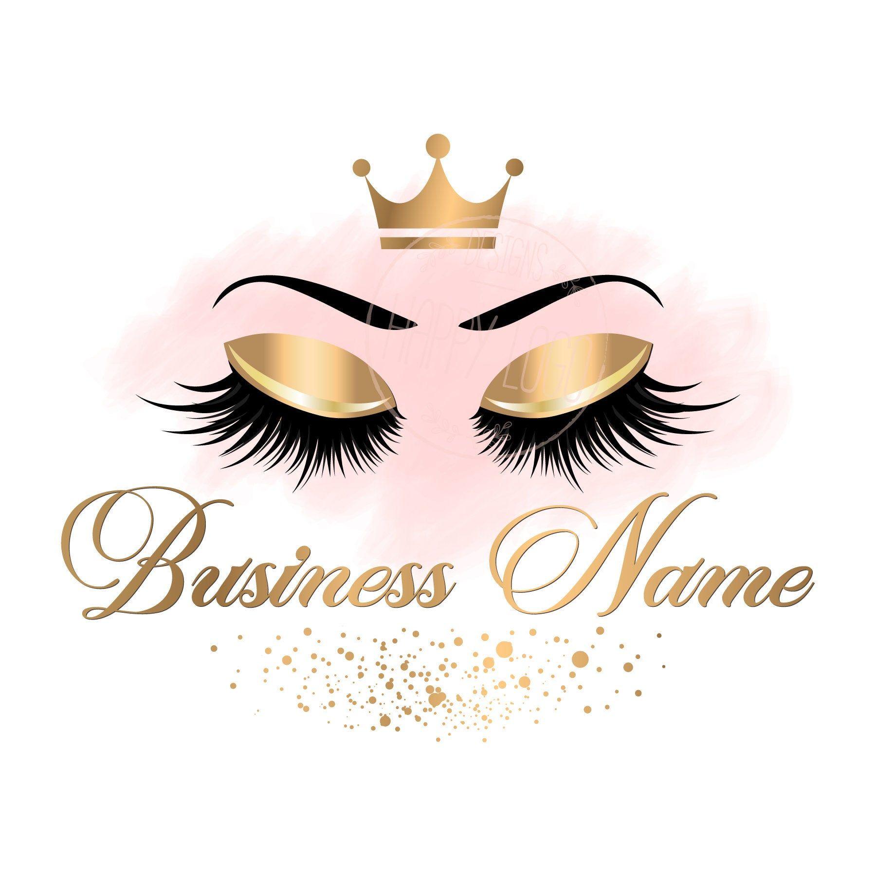 DIGITAL Custom logo design , gold pink lashes logo, crown