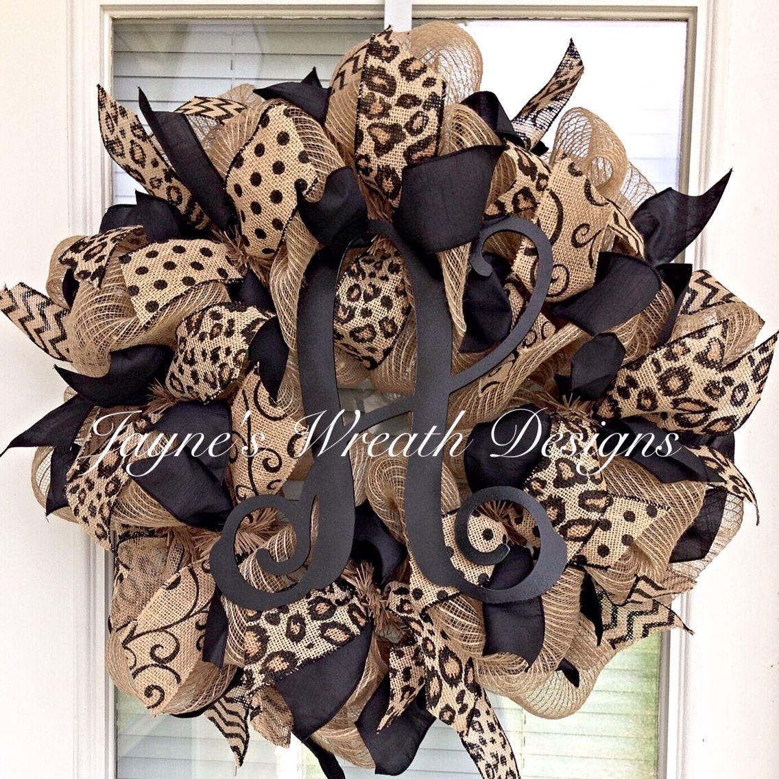 popular burlap wreath with leopard polka dot swirly and chevron