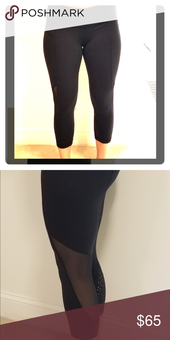 00c5f056529c9a Size 6 Black Lululemon cropped leggings. Size 6. Mesh see through design on  back of legs. Good condition 😋 lululemon athletica Pants Leggings