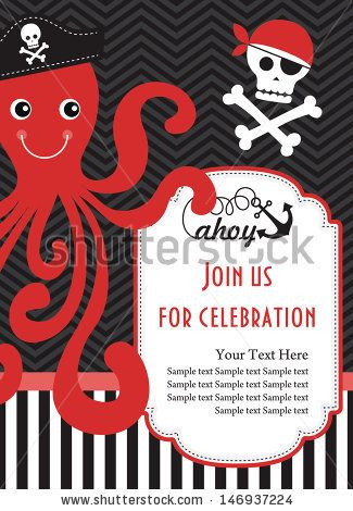 Pirate party invitation card design vector illustration stock pirate party invitation card design vector illustration stock vector bday j pinterest invitation card design and image vector stopboris Image collections