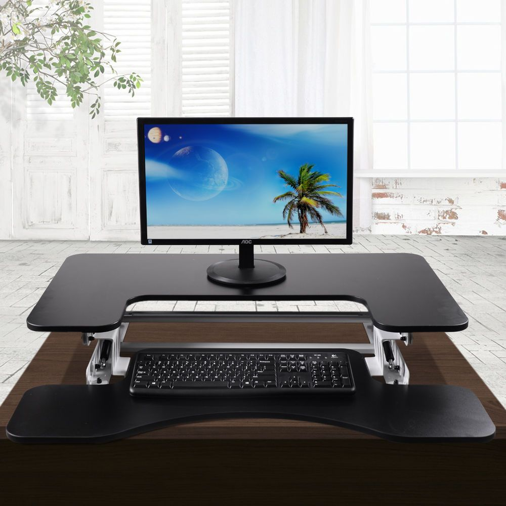 Adjustable height stand up desk computer workstation lift rising