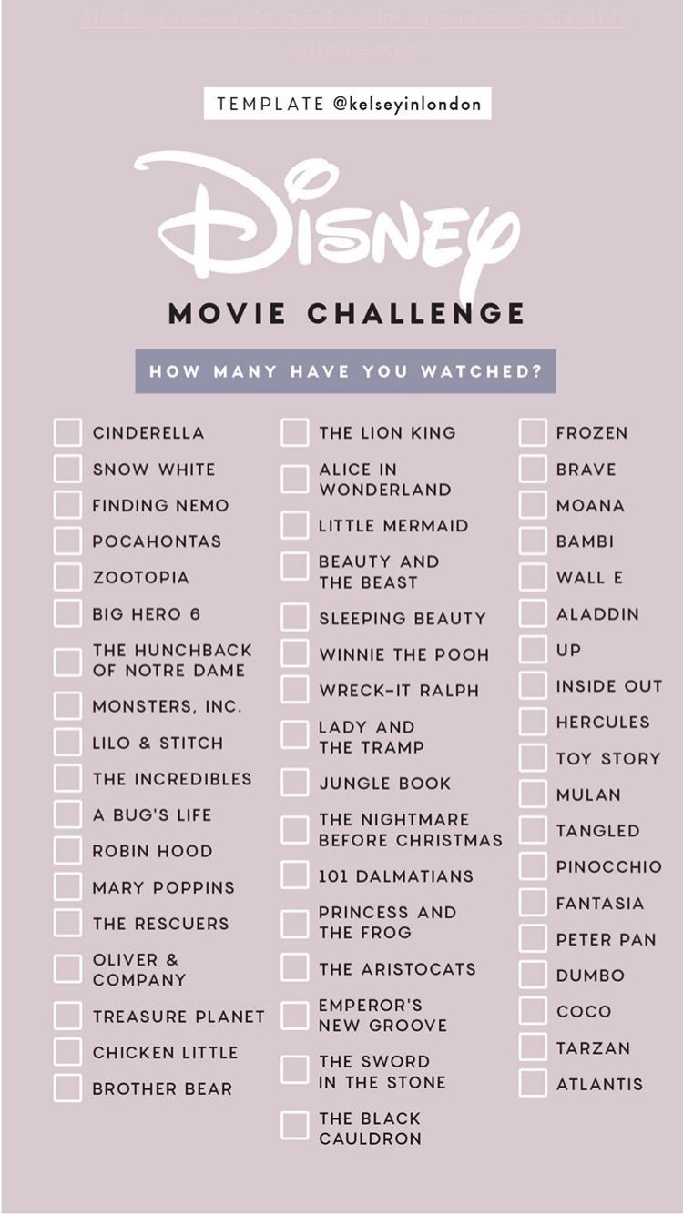 Photo of Disney Movie Challenge Instagram Story Template by Kelseyinlondon #InstaStory #S…
