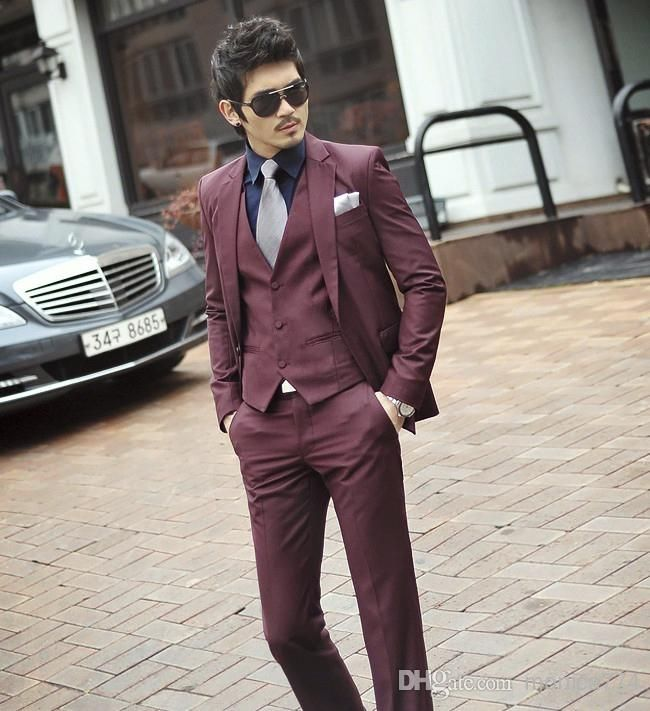 Wholesale Elegant Burgundy Shiny Men Suits Set with 1 button Slim ...