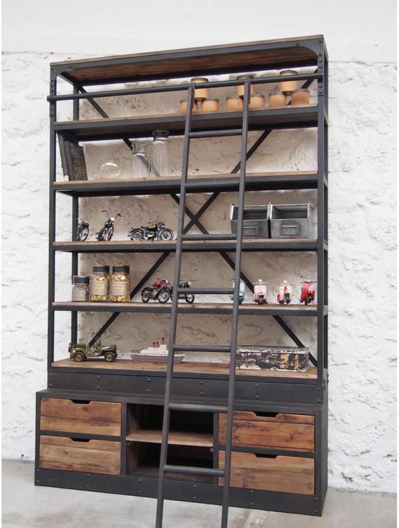 biblioth que m tallique industrielle bar metal. Black Bedroom Furniture Sets. Home Design Ideas