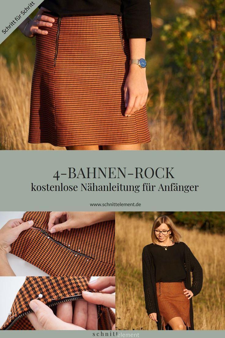 Instructions de couture: jupe à 4 panneaux – élément de coupe   – KOSTENLOSE SCHNITTMUSTER
