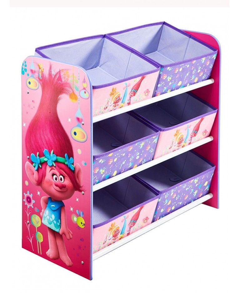 Trolls 6 Bin Storage Unit Poppy in 2019 | Storage bins ...