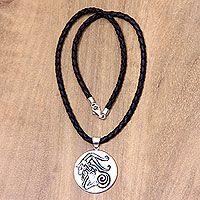 Leather and bone pendant necklace, 'Capricorn'