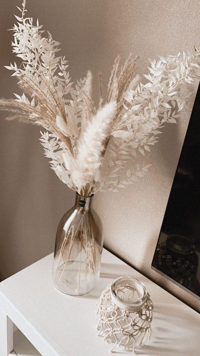 Trockenblumen Strauß weiß gebleicht