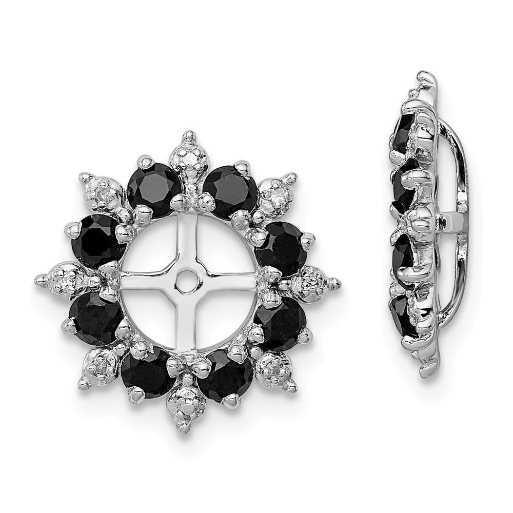 10c69aea85b14 925 Sterling Silver Rhodium Diamond and Black Sapphire Earring ...
