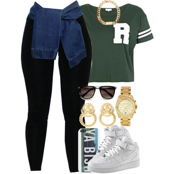 Untitled #929 | Black tights Nike air force and Gold watches