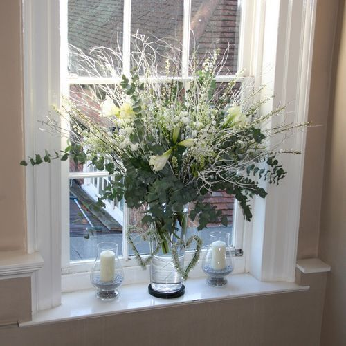 large vase of white and grey early spring