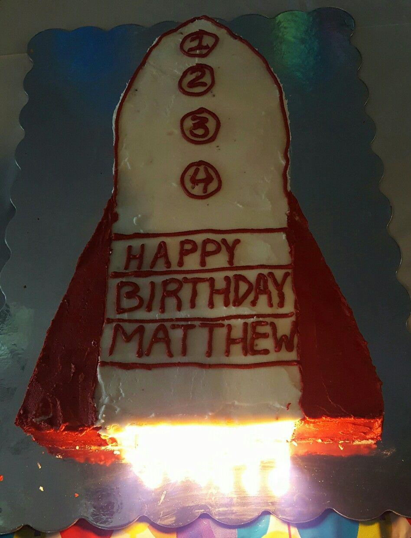 Rocketship cake for 4 year old birthday.