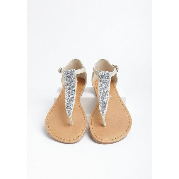 Tabby Sandal By BC Footwear (73 CAD) ❤ liked on Polyvore featuring shoes, sandals, white, rhinestone sandals, white rhinestone sandals, rhinestone flats, bc footwear sandals and rhinestone shoes