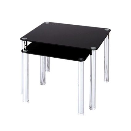Set Of 2 Side Tables Black Glass Chrome Legs Large Table H