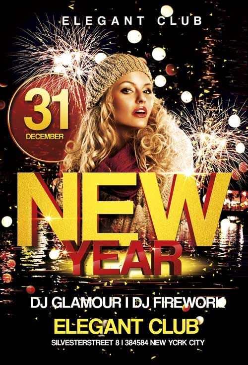 Free New Year Club Flyer Template  Club Flyers