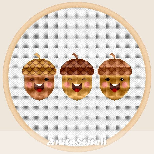 cute acorns cross stitch pattern etsy cross stitch patterns cactus cross stitch autumn cross stitch patterns