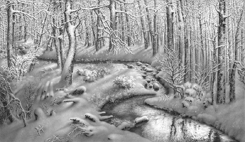 Snow Landscapes Pencil Art Cool Pencil Drawings Winter Drawings Landscape Pencil Drawings