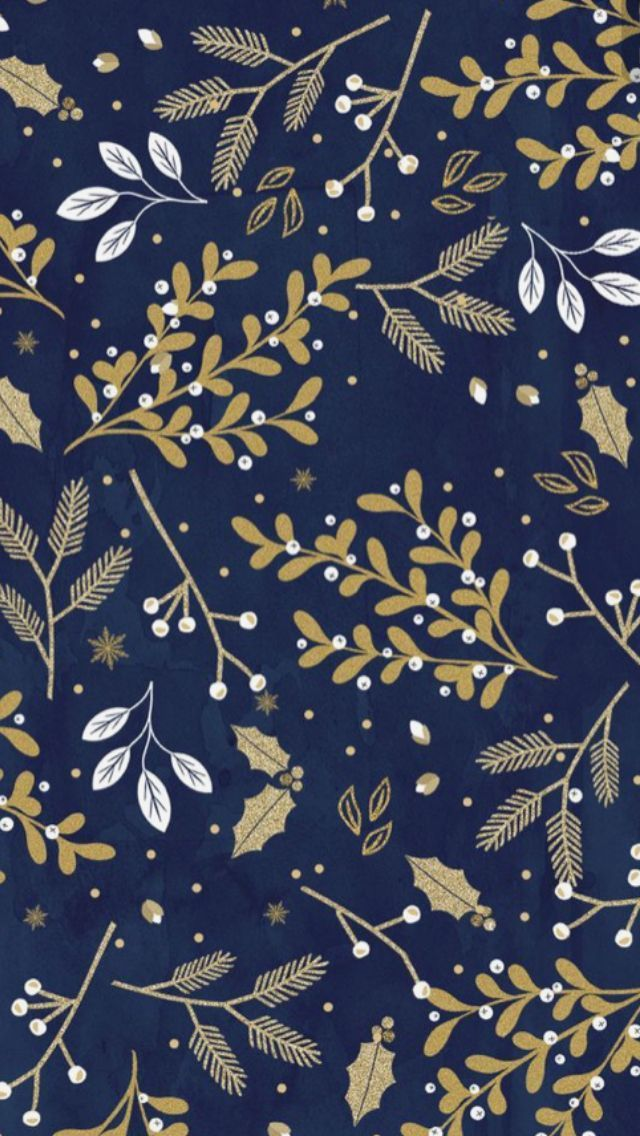 Winter floral with a navy background Iphone wallpaper