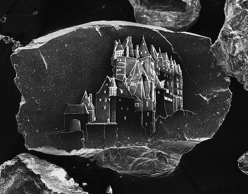 vik muniz + marcelo coelho etch microscopic castles on grains of sand