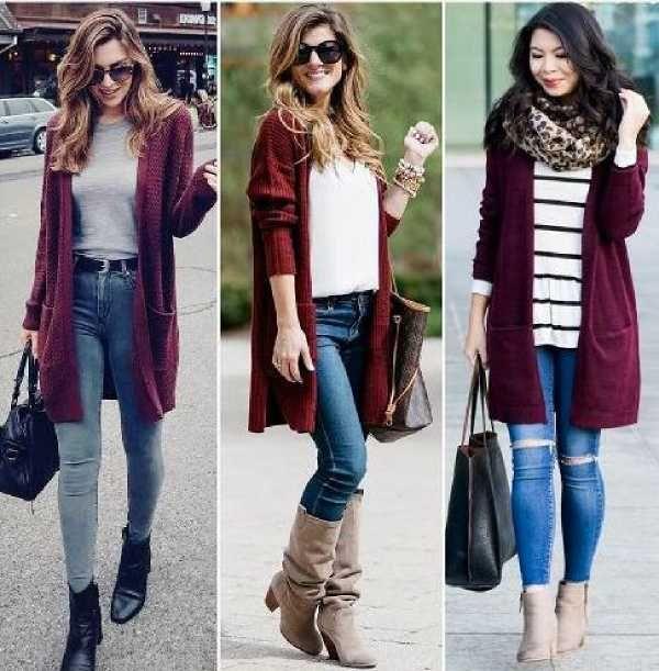 ملابس باللون العنابي والألوان اللائقة عليه بالصور Burgundy Sweater Outfit Fall Outfits Women Trendy Girls