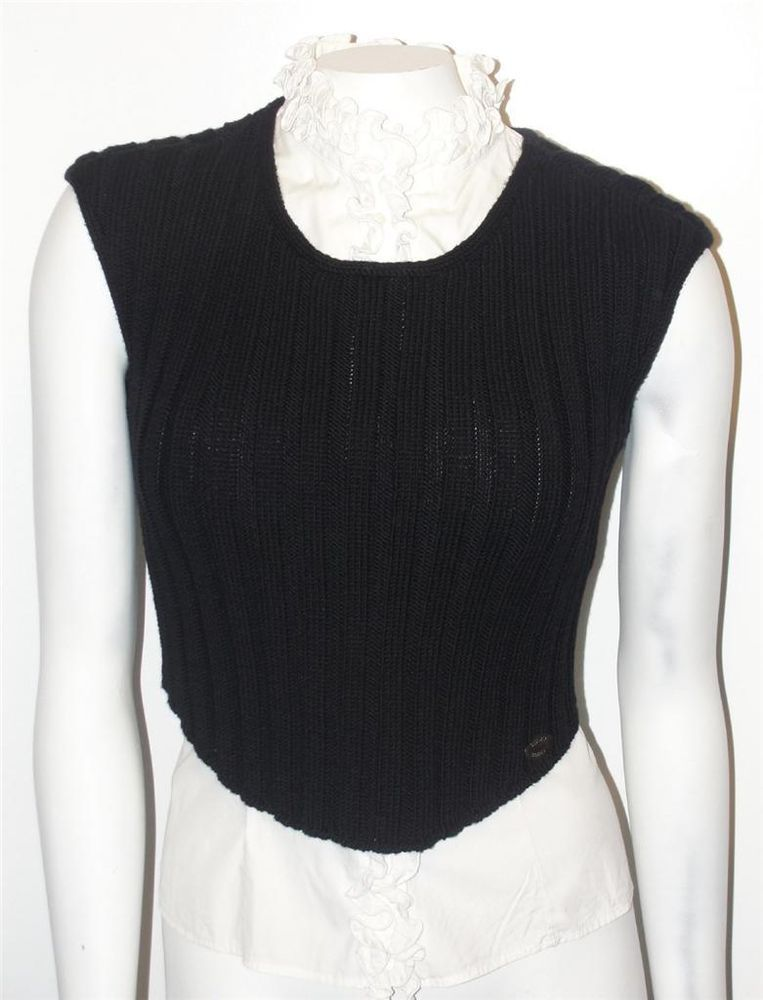 Chanel identification~99a~wool~signature~stripe knit sweater vest ...