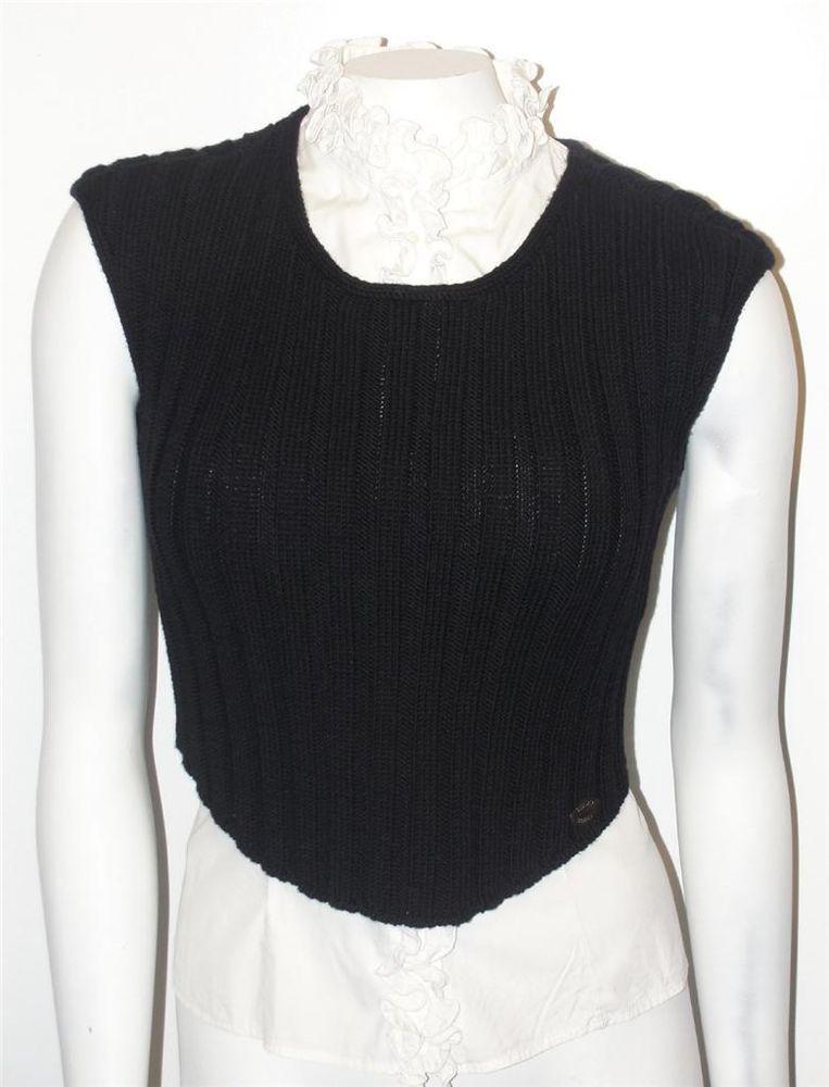 Chanel identification~99a~wool~signature~stripe knit sweater vest ...