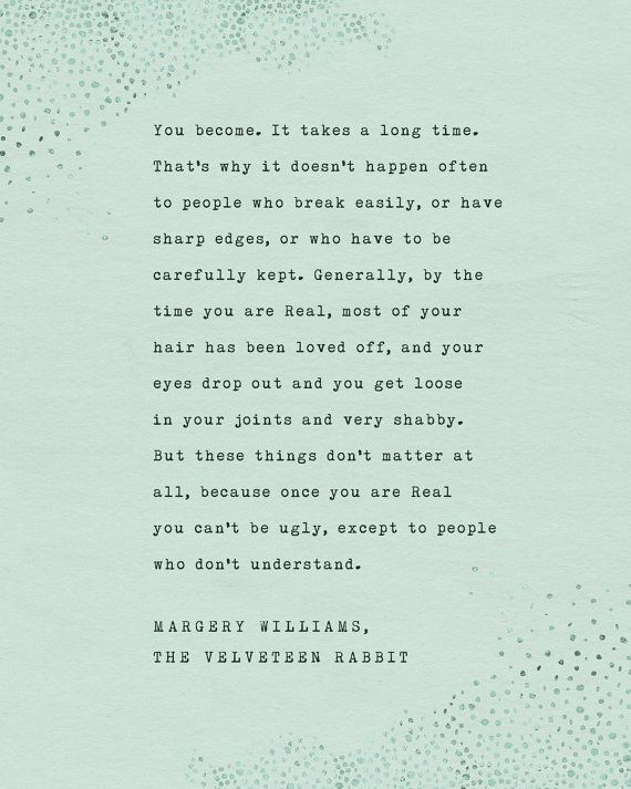 Velveteen Rabbit quote print, you become, wall decor ...
