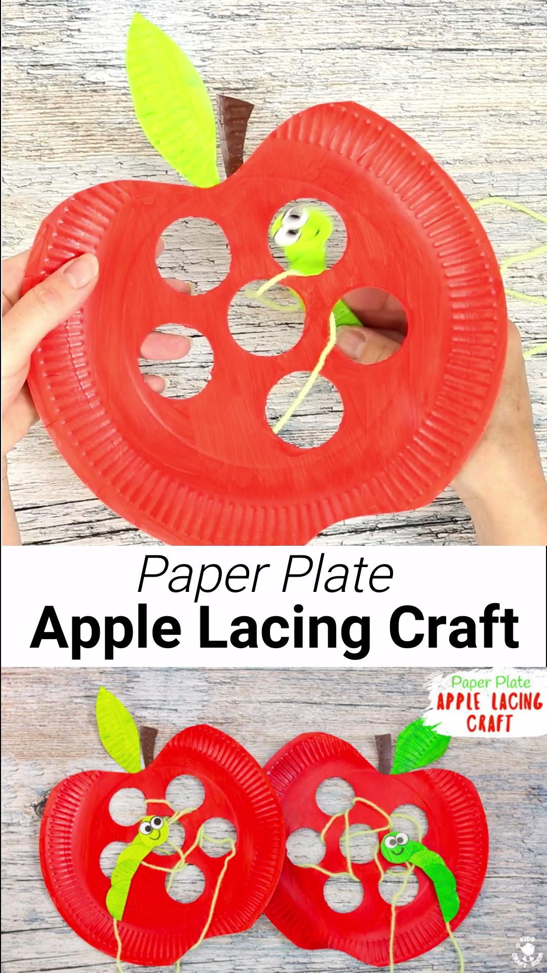 Paper Plate Apple Lacing Craft is part of Kids craft room, Preschool crafts, Fall crafts for kids, Fun crafts for kids, Crafts for kids, Toddler crafts - This interactive Paper Plate Apple Lacing Craft is adorable with the cutest worm for kids to thread in and out! What a fun way to build fine motor skills