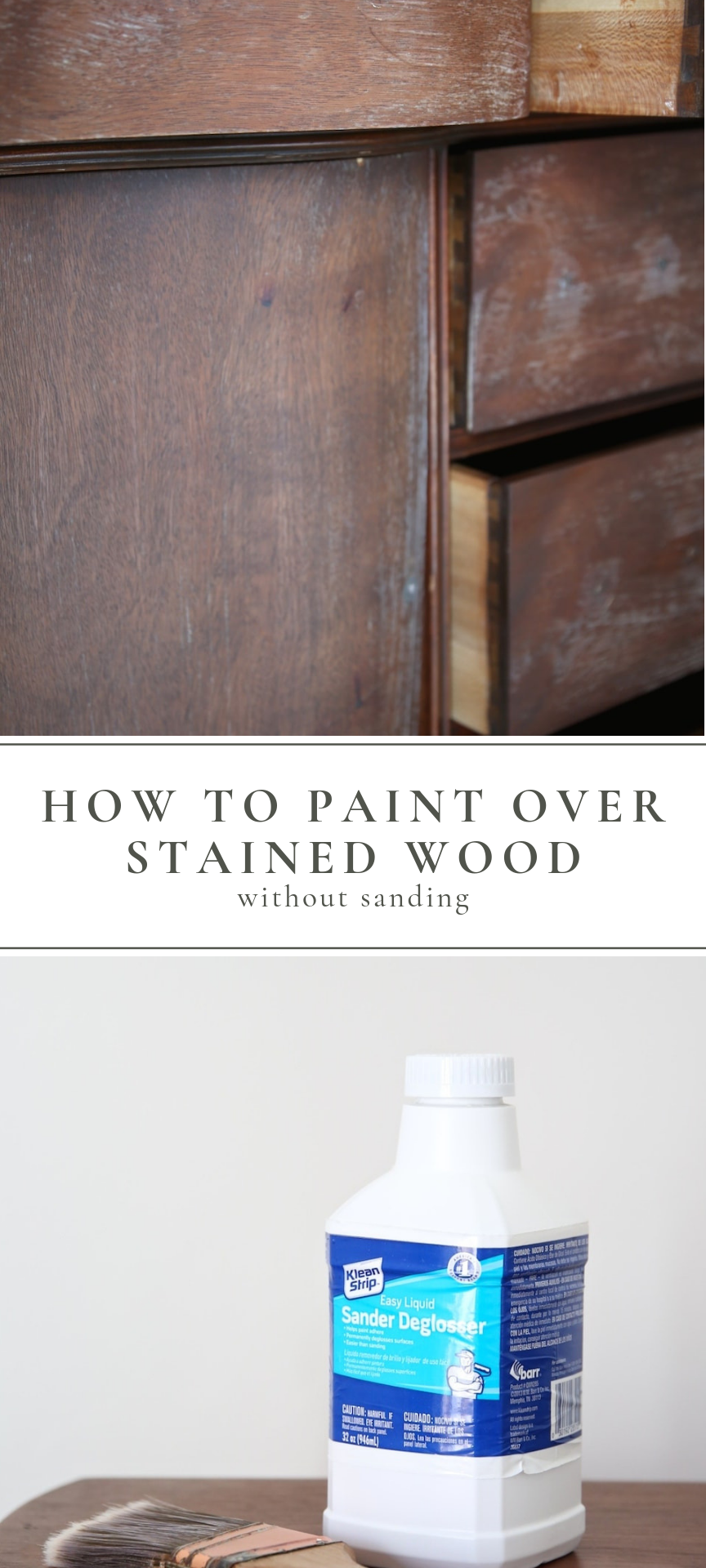 Quick Painting Tip Paint Over Stained Wood With Liquid Sandpaper Painting Over Stained Wood Staining Wood Paint Stained Wood