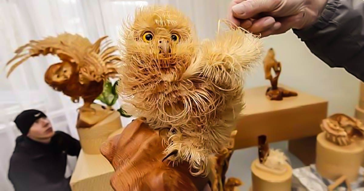 Artist Sergei Bobkov, a 53-year-old sculptor uses Siberian Cedar wood chips to create delicate and intricate pieces of art. Wow, just wow.