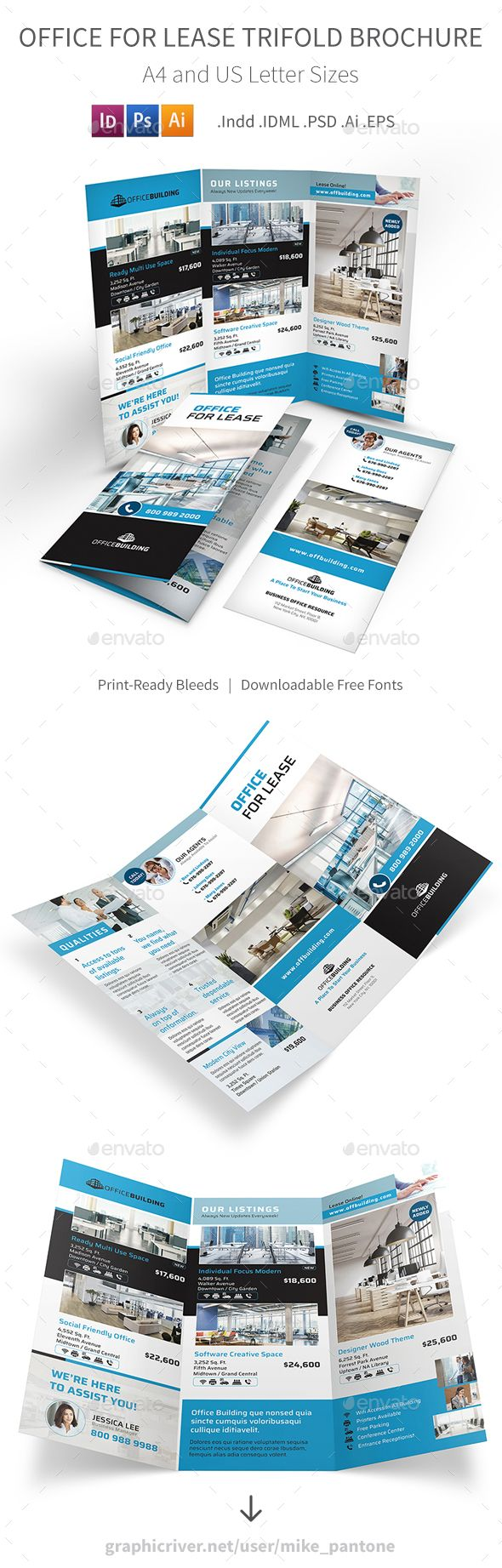 Office For Lease Trifold Brochure Template Psd Vector Eps Indesign
