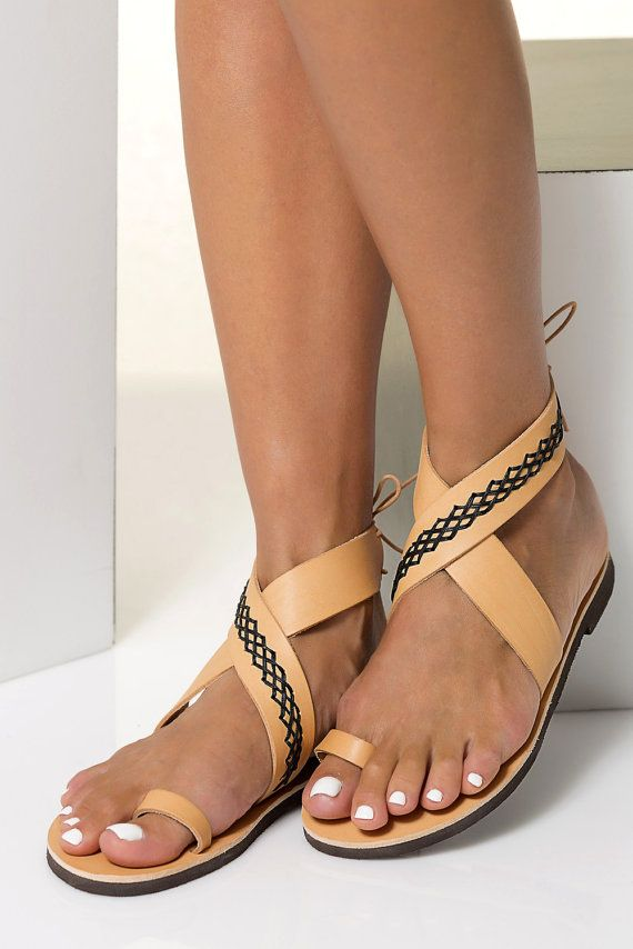 0bad44049d5b4 Greek Leather Sandals with embroidered decoration in Six | sexy feet ...