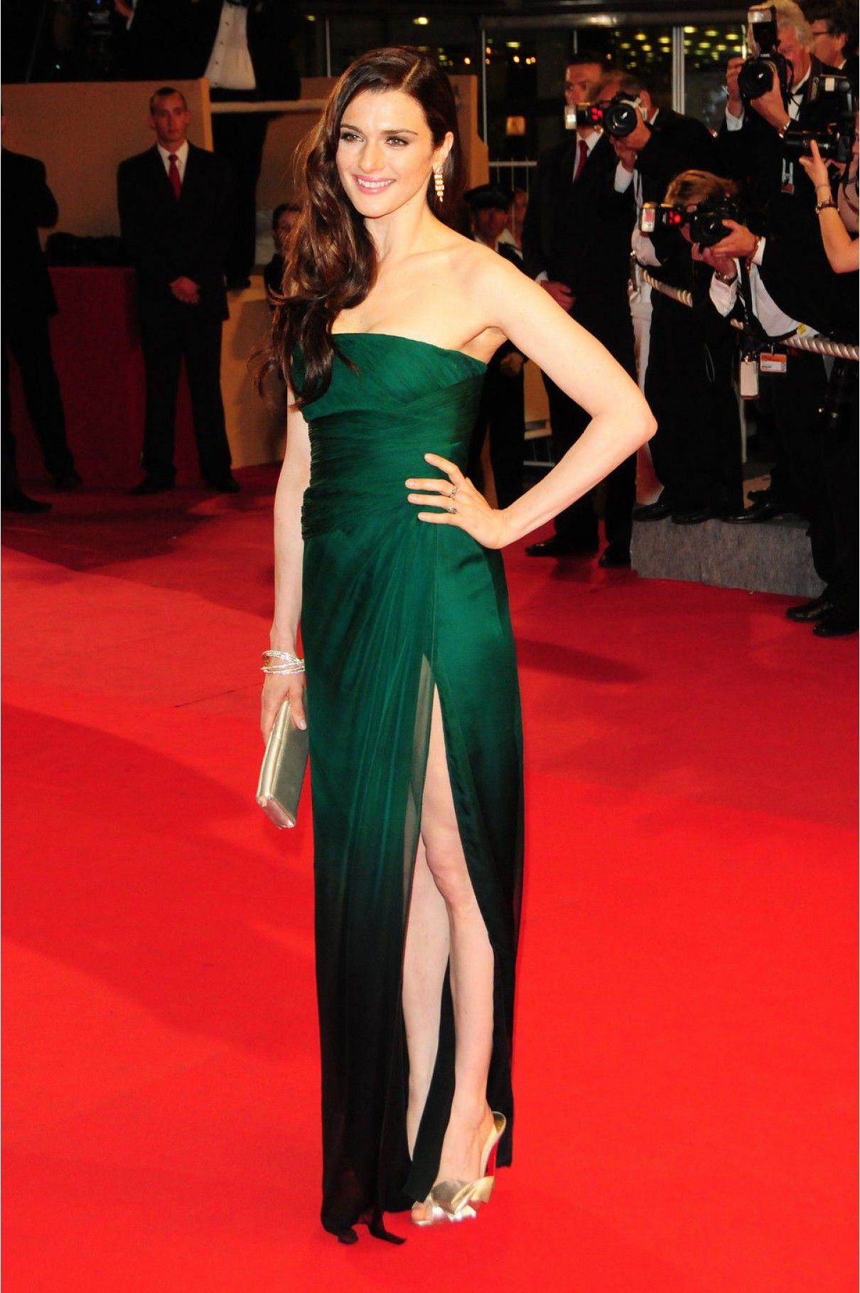 Bottle green prom dress  Rachel Weiszus bottle green Valentino dress was the perfect colour