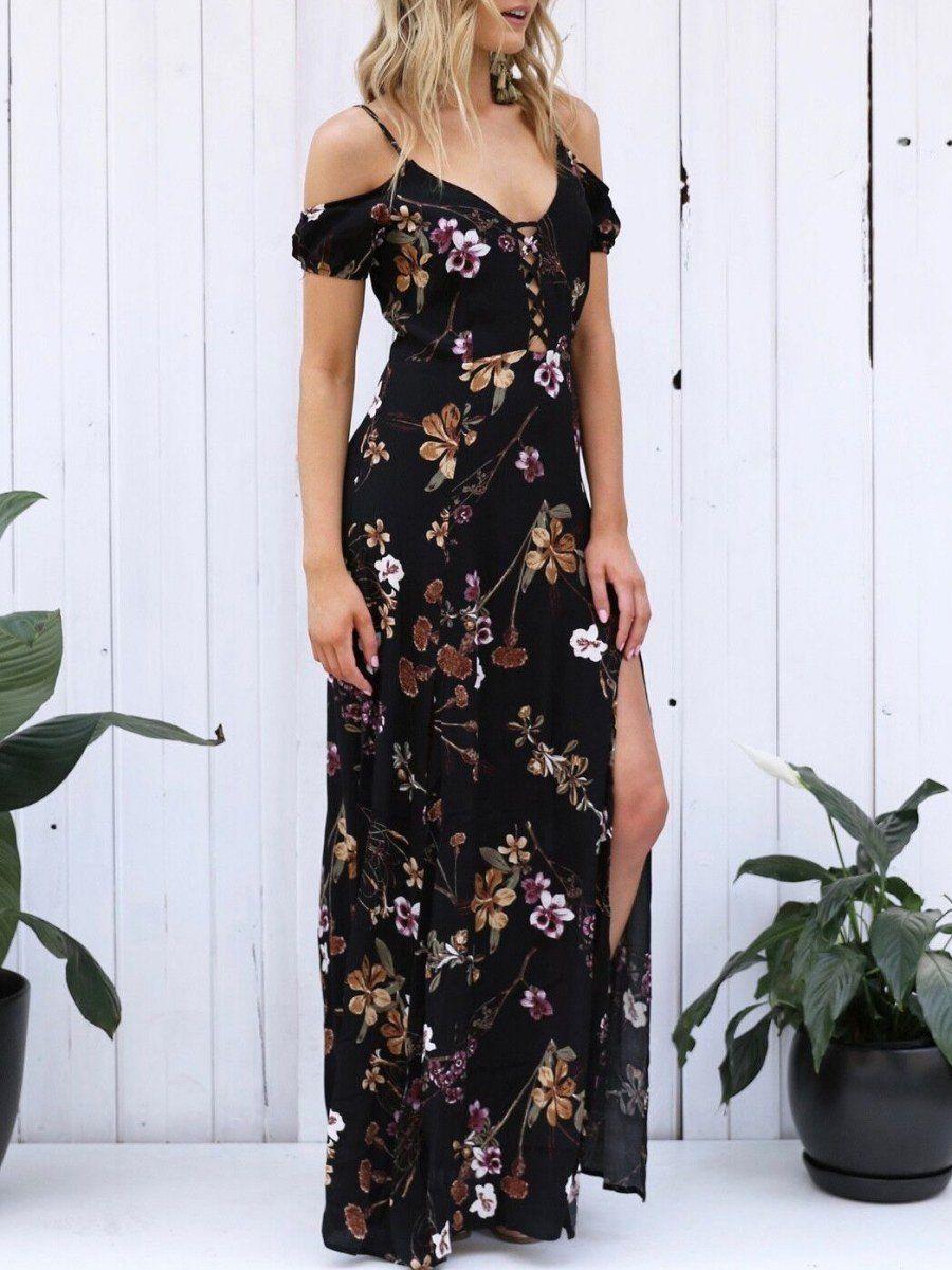 7c3f339a74e5 Chiffon Floral-Print Long Sleeve Deep V Neck Side Split Maxi Dress ...