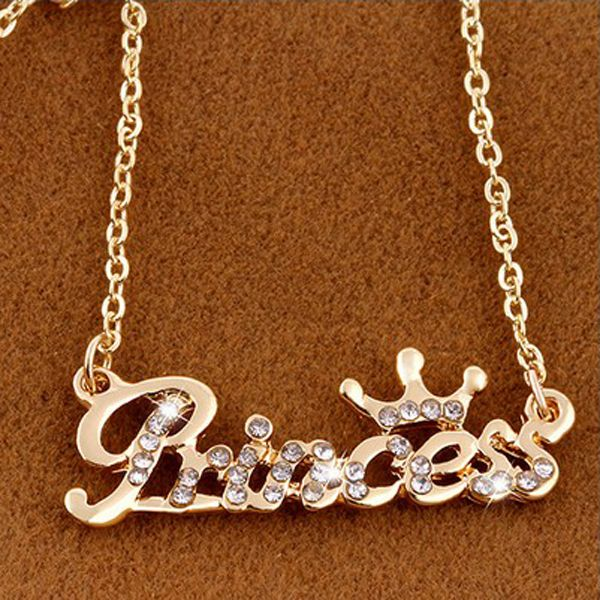 Crystal English Letter Crown Pendant Short Chain Necklace Fashion Jewelry Necklace Chain Necklace