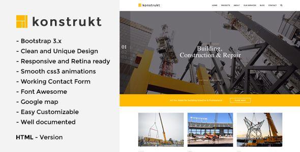 Konstrukt - HTML5 Construction \ Building Template  Konstrukt - construction form templates