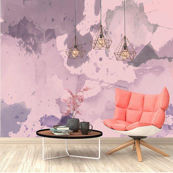 Paint Stains Watercolor Wallpaper. Purple Ombre Wallpaper