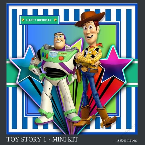 Toy Story 1 by Isabel Neves Toy Story 1 Mini KitMini Kit Includes Card Front Mini Print & Fold Card Card Insert Tiles (Gift Tags) Decoupage Sentiment Tags and Preview.Perfect collection for various occasions. Card Size Approx 7.5 x 7.5 --   Sentiment Tags Read Happy Birthday & Blank...............................................................................................................